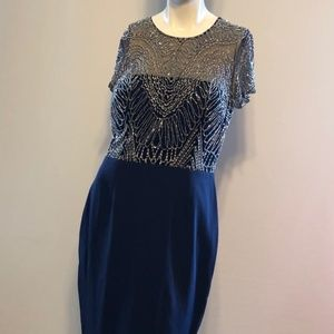 David Meister  Navy/Silver Beaded Dress 12